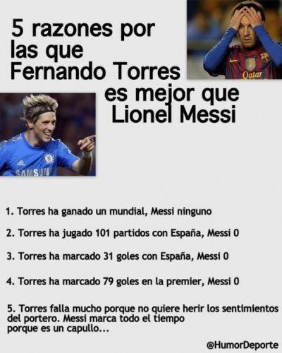 5 razones por las que Fernando Torres es mejor que Lionel Messi