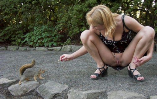 Mi secretaria dando de comer a las ardillas en el parque del retiro