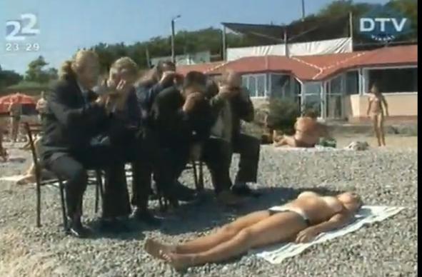Voyeurs descarados en la playa