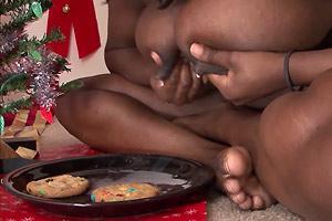 Leche de las tetas para Santa Claus
