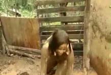 Mujer follando con un cerdo