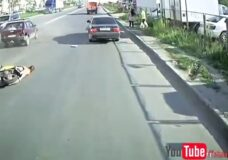 Imagen Rusia + Borracho + Scooter = Accidente