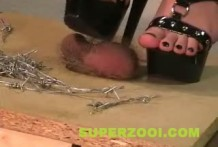 Esposa pisotea la Polla de su marido con alambres de púas