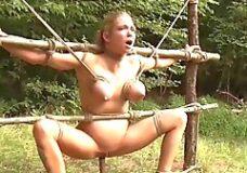 Imagen Estacas de madera para follar a esta esclava