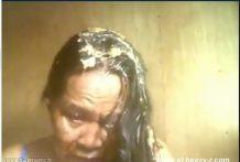 Abuela filipina bebe y come su Pipí, vómito y mierda