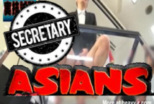 Tímida asiática cachonda secretaria follando