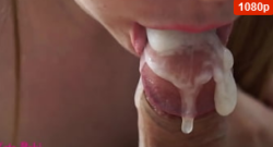 Primer plano de la mamada. Creampie en la boca